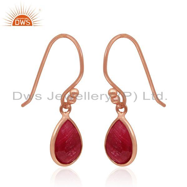 Exporter Rose Gold Plated 925 Silver Ruby Corundum Gemstone Drop Earrings Manufacturers