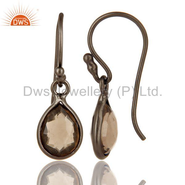 Suppliers Oxidized Sterling Silver Smoky Quartz Gemstone Dangle Earrings