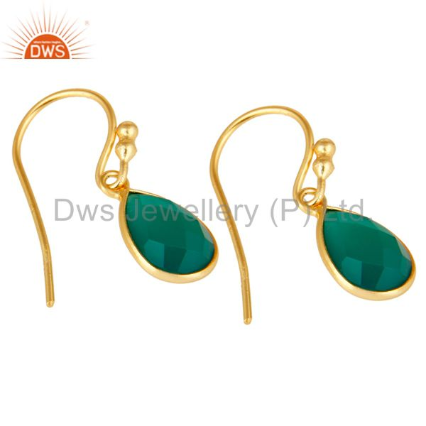 Wholesalers 18K Yellow Gold Plated Sterling Silver Green Onyx Gemstone Dangle Earrings