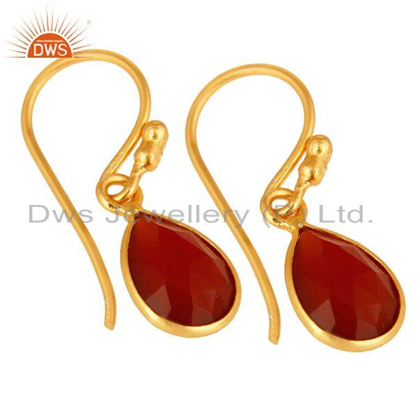 Wholesalers 18K Yellow Gold Plated Sterling Silver Red Onyx Gemstone Dangle Earrings