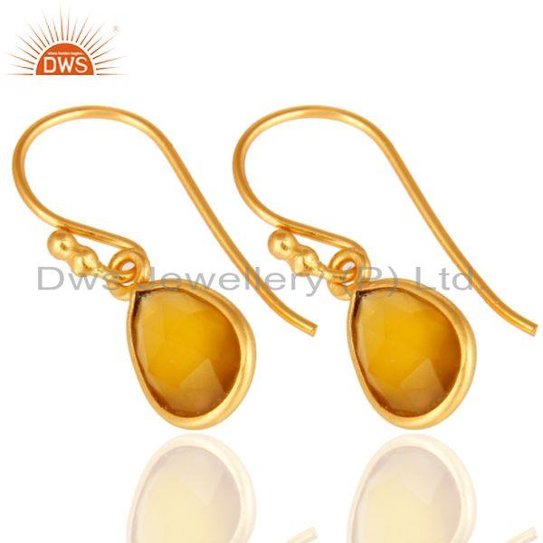 Wholesalers Yellow Chalcedony Gemstone Drop Earrings In 18K Gold Over Sterling Silver