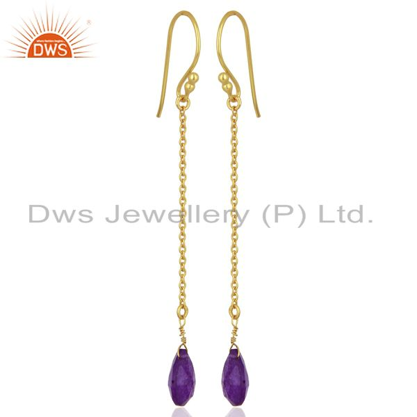 Exporter Gold Plated Aventurine Gemstone 925 Sterling Silver Chain Earrings