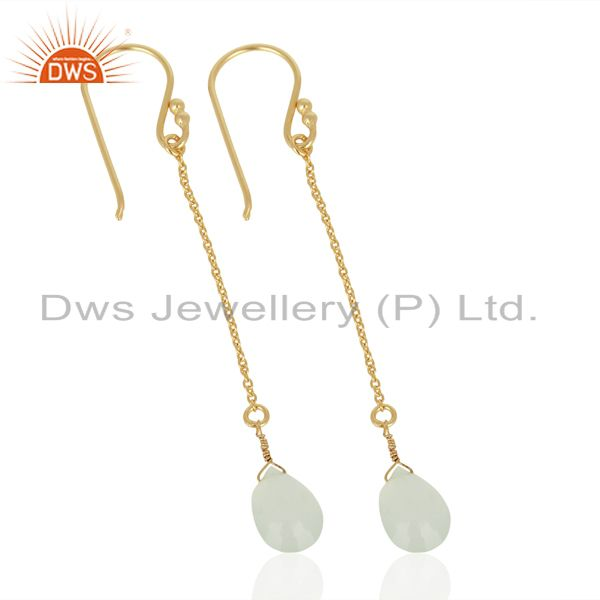 Exporter Aqua Chalcedony Simple Chain Gold Plated Wholesale Earring Jewelry