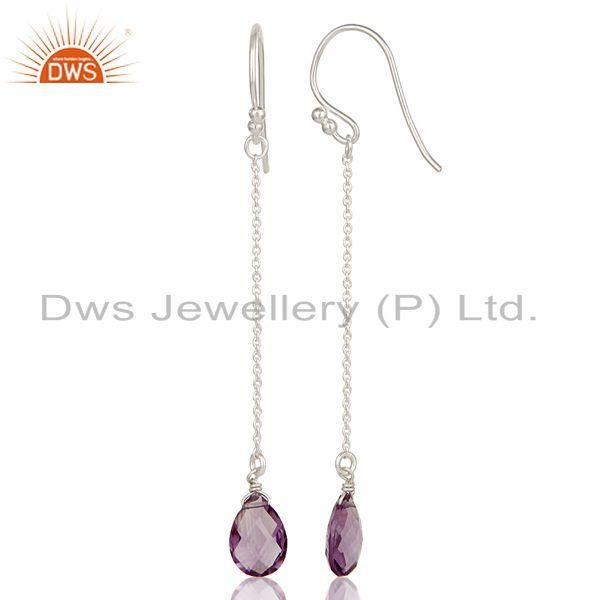 Suppliers Handmade Solid 925 Sterling Silver Amethyst Briolette Chain Dangle Earrings