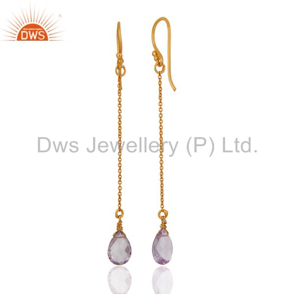 Suppliers 18K Yellow Gold Plated Sterling Silver Amethyst Briolette Gemstone Chain Earring