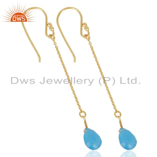 Exporter Blue Chalcedony Simple Chain Gold Plated Wholesale Earring Jewelry