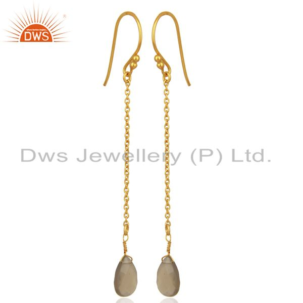 Exporter Gray Chalcedony Gemstone Gold Plated Silver Earrings Manufacturer