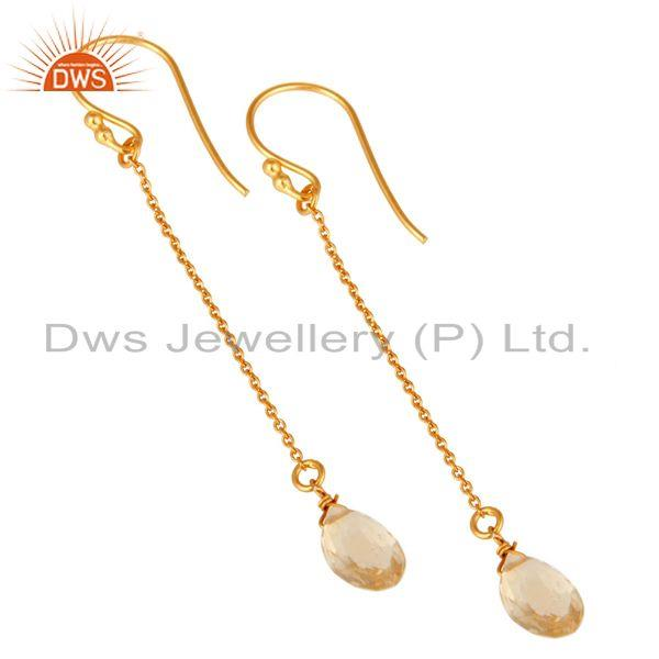 Wholesalers 18K Yellow Gold Plated Sterling Silver Natural Citrine Briolette Chain Earrings
