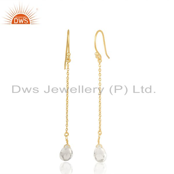 Exporter Crystal Quartz 92.5 Sterling Silver Gold Plated Chain Earring Supplier