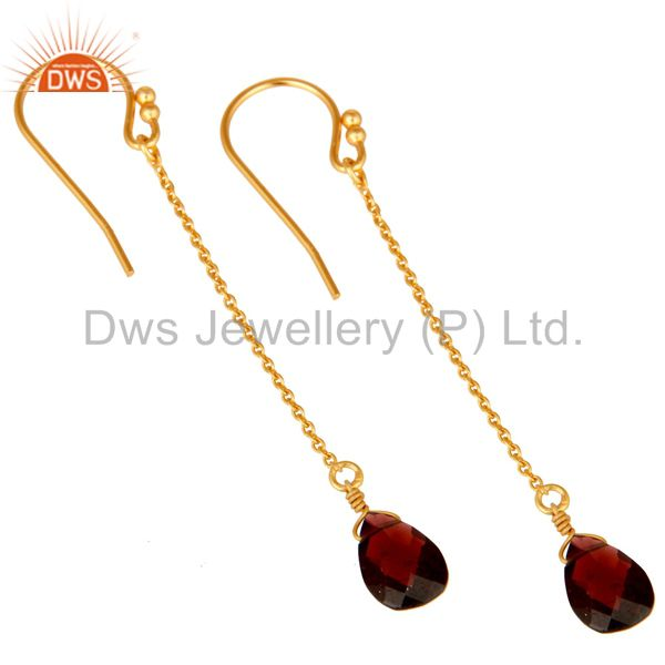Wholesalers 18K Gold Plated Sterling Silver Garnet Gemstone Briolettes Chain Dangle Earrings