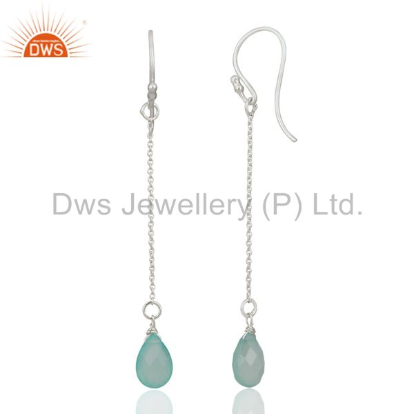 Suppliers Solid 925 Sterling Silver Aqua Chalcedony Briolette Link Chain Dangle Earrings