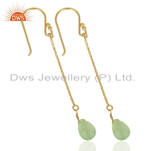 Exporter Prehnite Chalcedony Simple Chain Gold Plated Wholesale Earring Jewelry