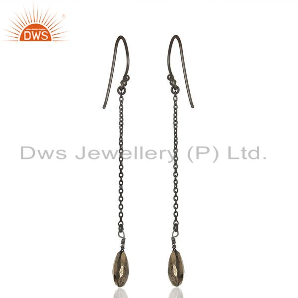 Exporter Black Rhodium Plated 925 Silver Hematite Gemstone Earrings Supplier