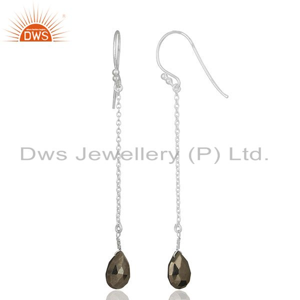 Exporter Solid 925 Sterling Silver Handmade Hematite Link Chain Dangle Earrings Jewelry
