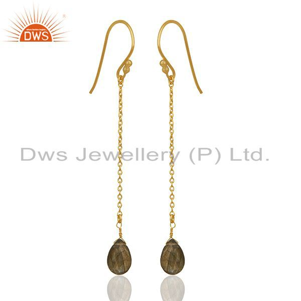 Exporter 18K Rose Gold Plated Sterling Silver Labradorite Drop Long Chain Earrings