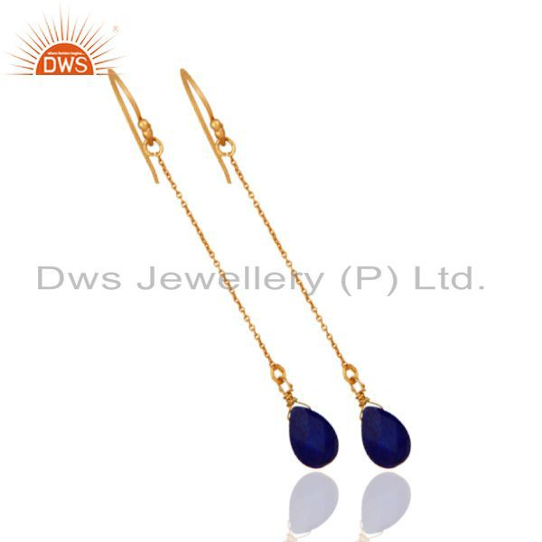 Exporter 18K Yellow Gold Plated Sterling Silver Lapis Lazuli Briolette Chain Earrings