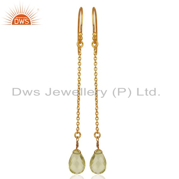 Suppliers 18K Yellow Gold Plated Sterling Silver Lemon Topaz Link Chain Drop Earrings