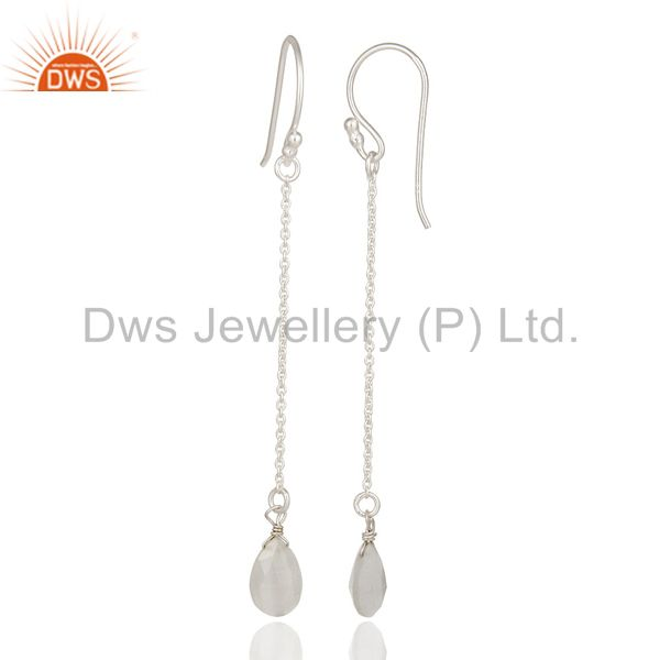 Wholesalers Solid Sterling Silver White Moonstone Chain Drop Earrings