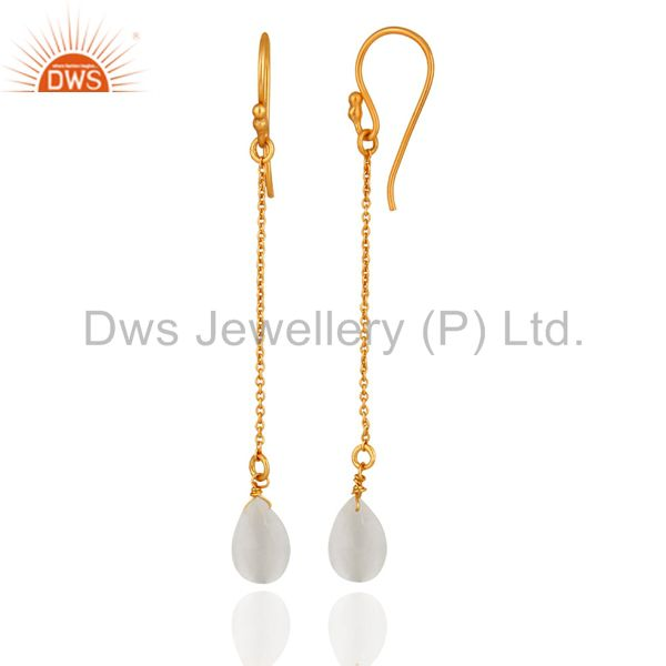 Exporter 18K Yellow Gold Plated Sterling Silver White Moonstone Briolette Drop Earrings