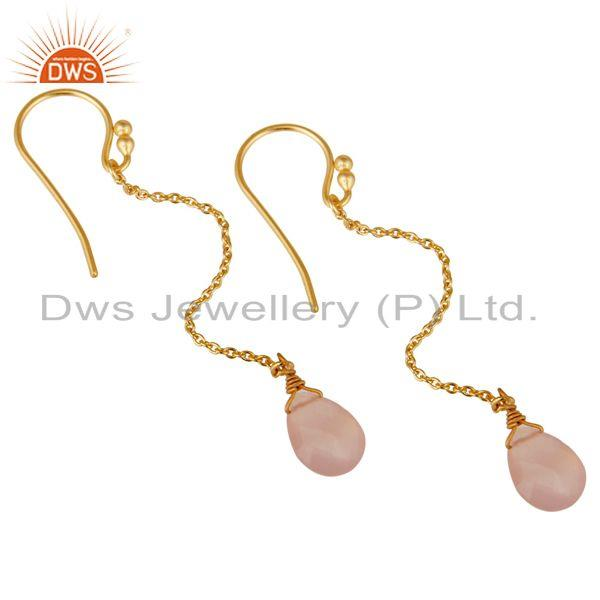 Wholesalers 18K Gold Plated Sterling Silver Rose Chalcedony Drop Link Chain Dangle Earrings