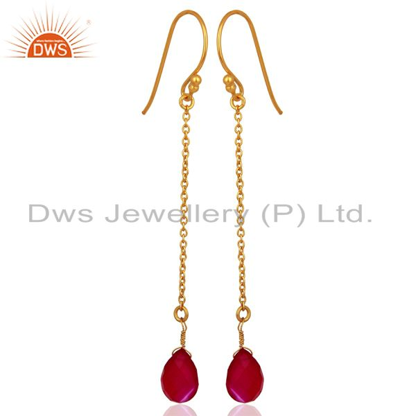 Exporter Pink Chalcedony Gemstone 925 Silver Gold Plated Girls Chain Earring