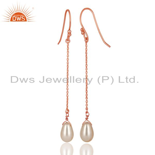 Exporter 14K Rose Gold Plated 925 Sterling Silver Pearl Link Chain Dangle Earrings