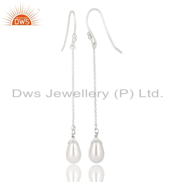 Exporter Solid 925 Sterling Silver Handmade Pearl Link Chain Dangle Earrings Jewelry