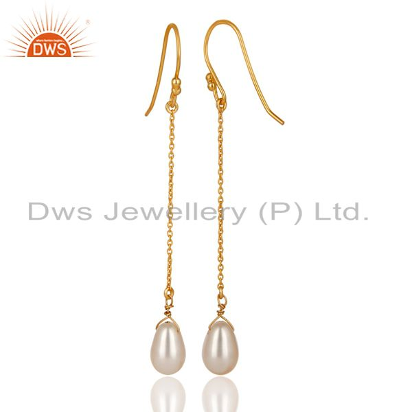 Exporter 14K Yellow Gold Plated 925 Sterling Silver Pearl Link Chain Dangle Earrings