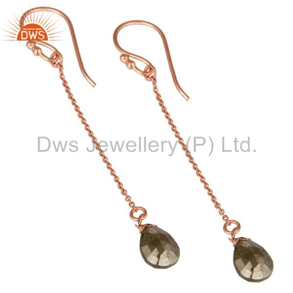 Wholesalers 18K Rose Gold Plated Sterling Silver Golden Pyrite Briolette Dangle Earrings