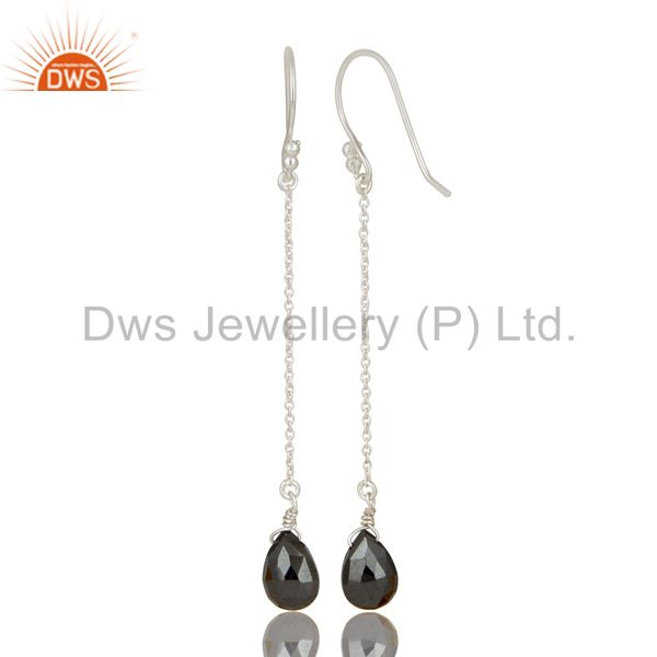 Suppliers Solid 925 Sterling Silver Handmade Hematite Link Chain Dangle Earrings Jewelry