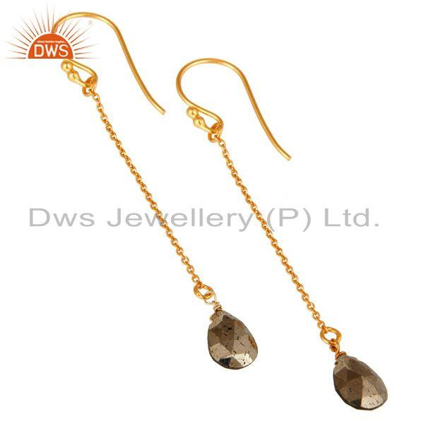 Wholesalers 18K Yellow Gold Plated Sterling Silver Pyrite Teardrop Link Chain Dangle Earring