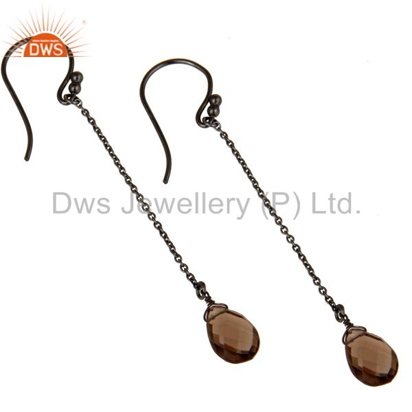 Wholesalers Black Oxidized Sterling Silver Smoky Quartz Gemstone Briolette Chain Earrings