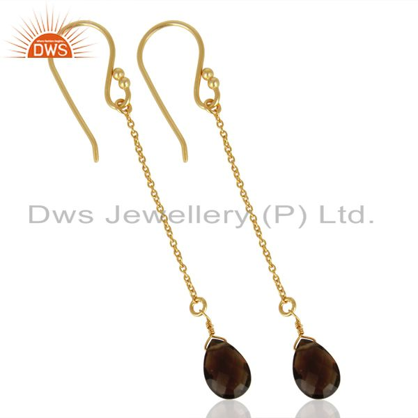 Wholesalers Smoky Topaz Simple Chain Gold Plated Wholesale Earring Jewelry
