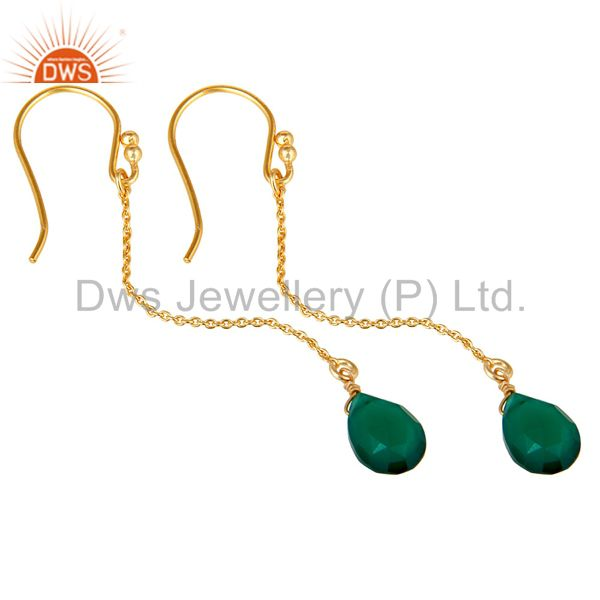Wholesalers 18k Gold Plated 925 Silver Faceted Green Onyx Gemstone Drop Link Chain Earrings