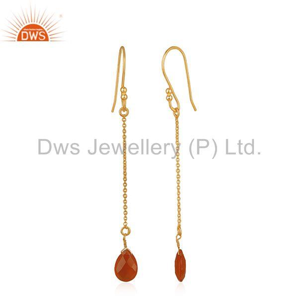 Exporter Red Onyx Gemstone Handmade 925 Silver Chain Gold Plated Earrings