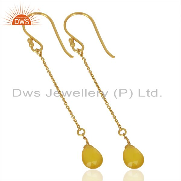 Exporter Yellow Chalcedony Drop 14K Yellow Gold Plated 925 Sterling Silver Earrings