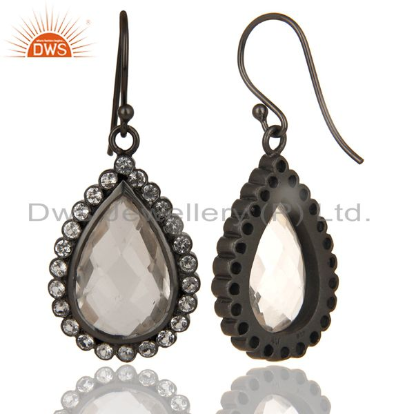 Exporter Black Oxidized 925 Sterling Silver White Topaz & Crystal Quartz Drops Earrings