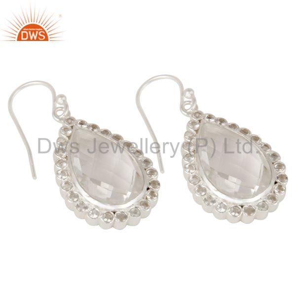 Wholesalers Solid 925 Sterling Silver Crystal Quartz & White Topaz Teardrops Earrings