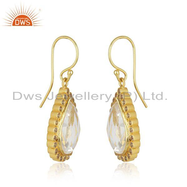 Exporter 18K Yellow Gold Plated Sterling Silver White Topaz & Crystal Quartz Drop Earring