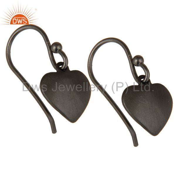 Wholesalers Heart Design Black Rhodium Plated Sterling Silver Handmade Earrings
