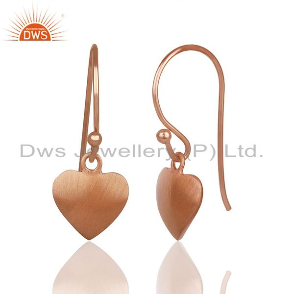 Exporter Heart Design Rose Gold Plated 925 Silver Girls Earrings Wholesale