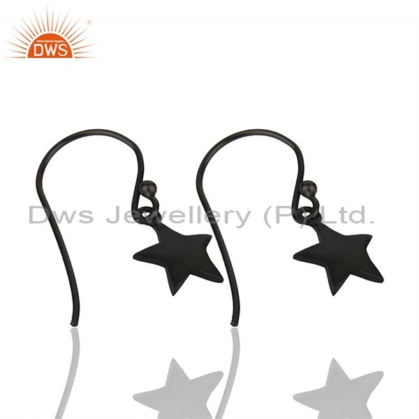 Exporter Sterling Silver Black Rhodium Plated Star Charm Earrings Manufacturer