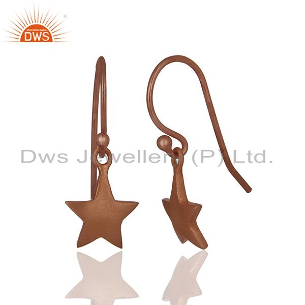 Exporter Solid Plain 92.5 Silver Rose Gold Plated Star Charm Earrings Jewelry