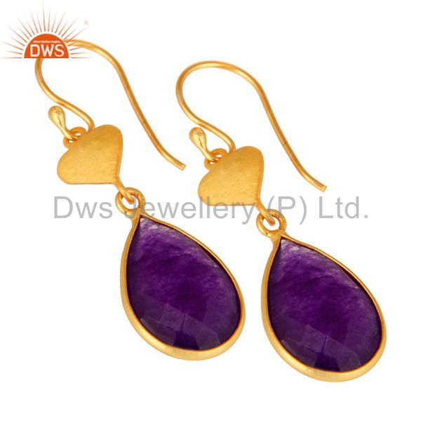 Wholesalers Gold Plated Sterling Silver Aventurine Amethyst Bezel-Set Drop Earrings
