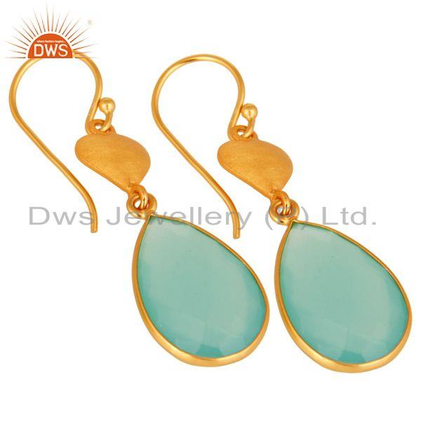 Wholesalers Designer 925 Sterling Silver Dyed Aqua Blue Chalcedony Earrings - Gold Plated