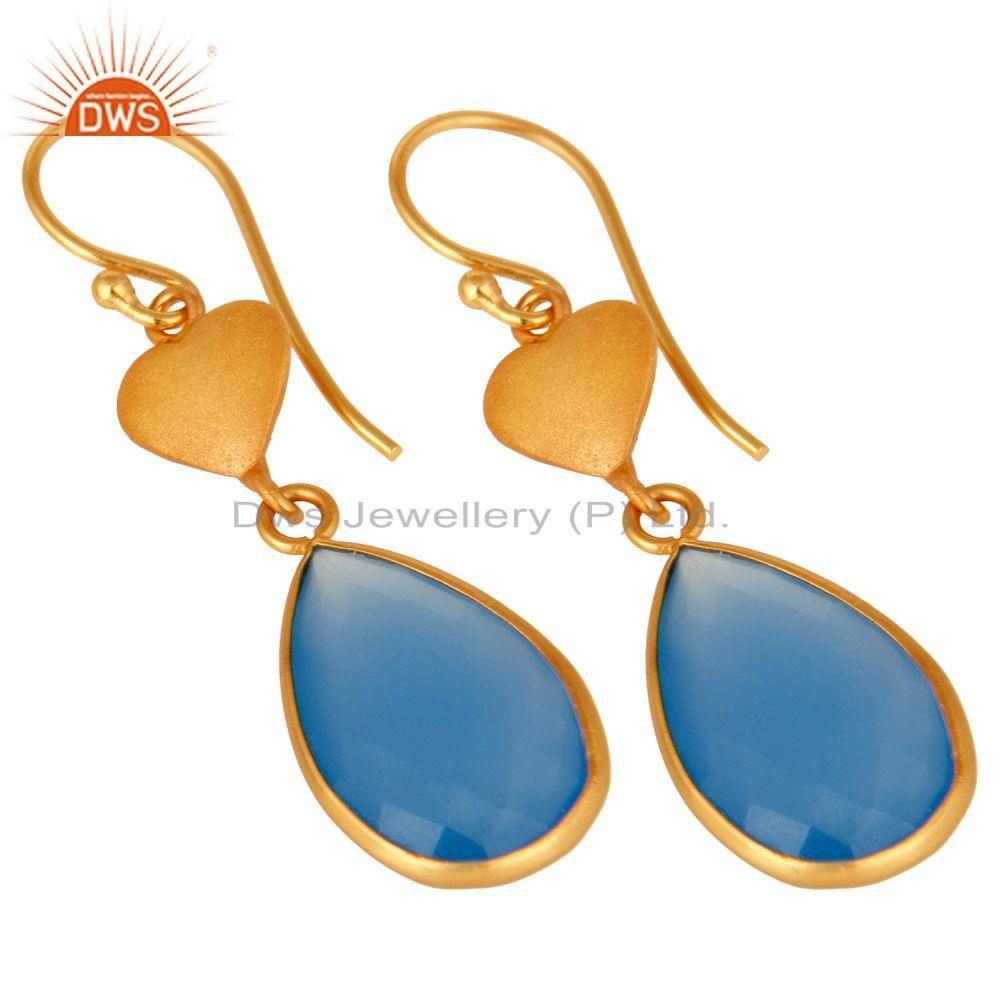 Wholesalers Faceted Blue Chalcedony Gemstone Dangle Earrings In 18K Gold On Sterling Silver