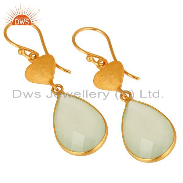 Wholesalers Faceted Green Chalcedony Gemstone Sterling Silver Earrings With 18K Gold Plated
