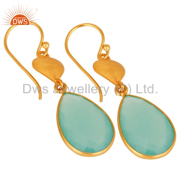 Exporter Designer 925 Sterling Silver Dyed Aqua Blue Chalcedony Earrings - Gold Plated