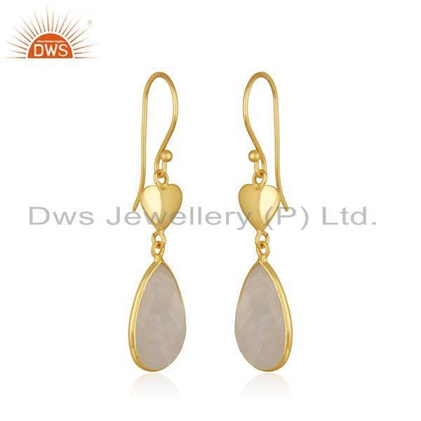 Exporter Natural Rainbow Moonstone Gold Plated Heart Shape 925 Silver Earring Wholesaler