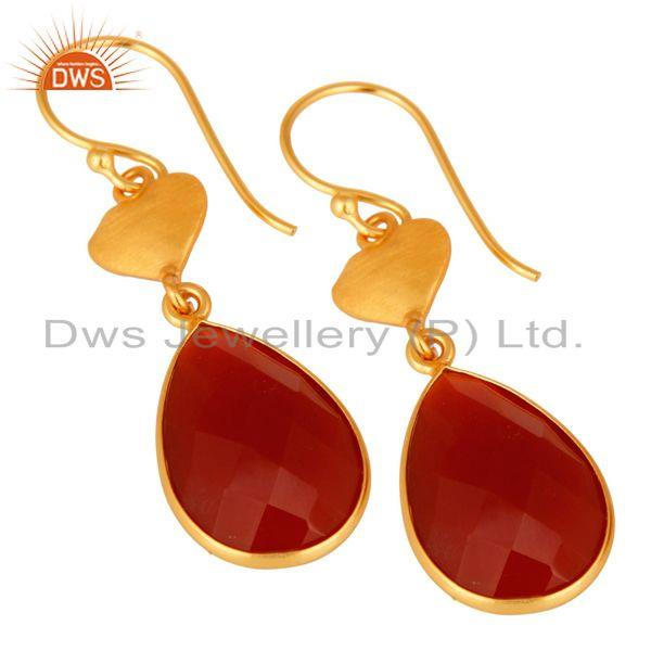 Wholesalers Faceted Red Onyx Solid Sterling Silver Bezel-Set Gemstone Drop Earrings